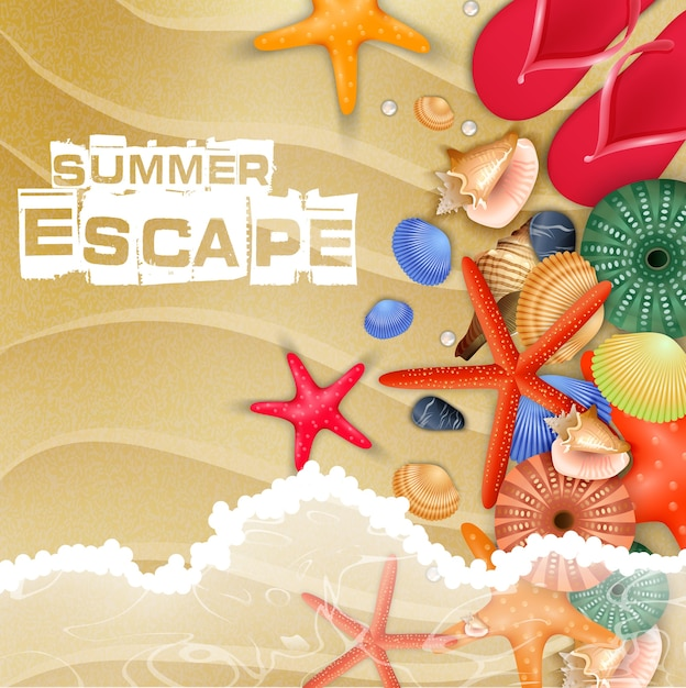 Summer beach holiday poster with top view Premium Vector
