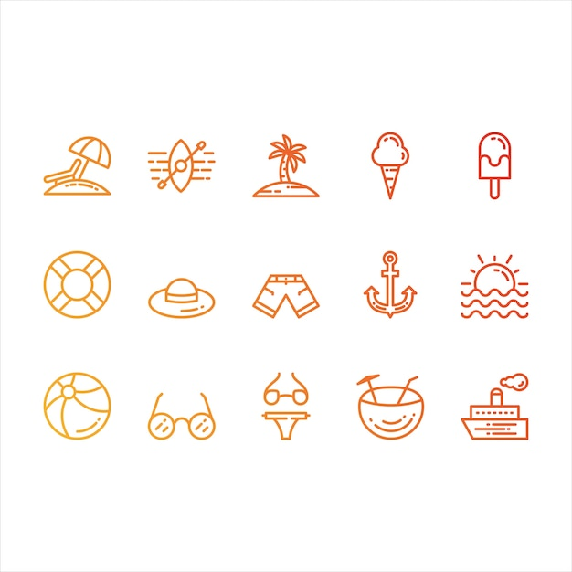 Summer and beach icons Free Vector