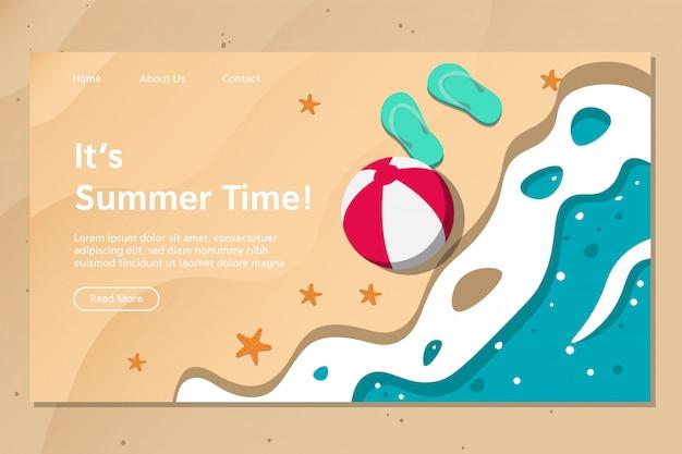Summer beach landing page vector Premium Vector