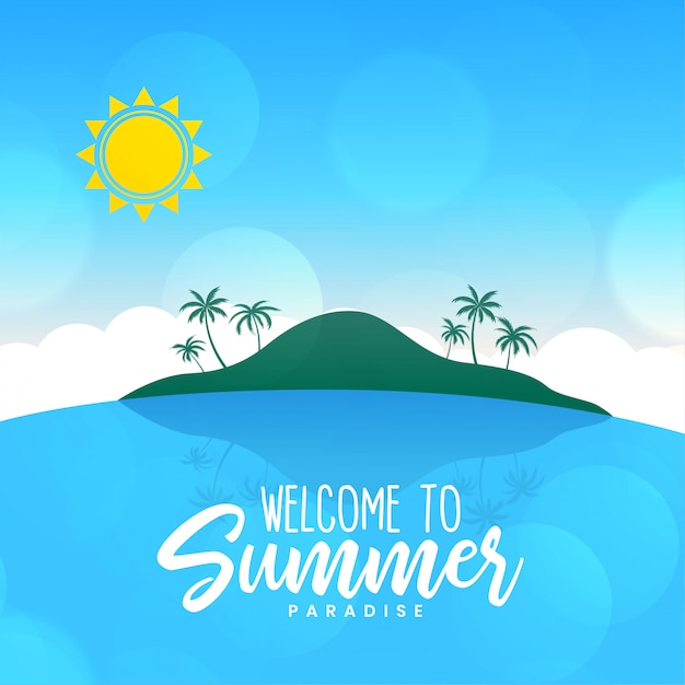 Summer beach landscape island sunny scene background Free Vector