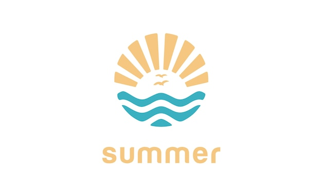 Summer beach logo design Premium Vector