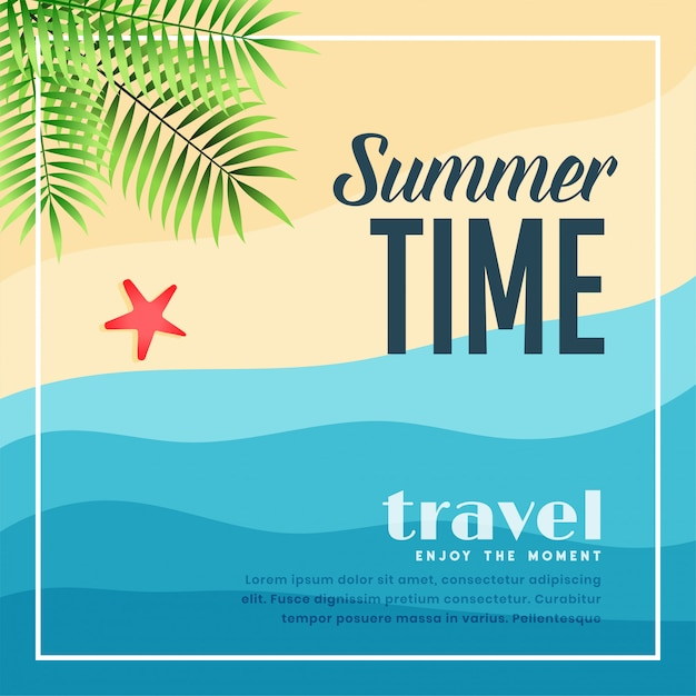 Summer beach paradise travel banner Free Vector