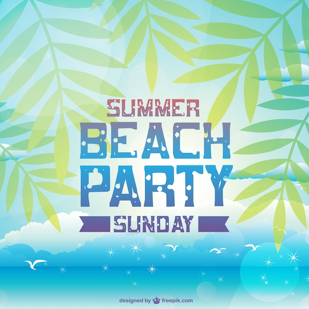 Summer beach party card with palm trees vector free download summer beach party card with palm trees free vector stopboris Images