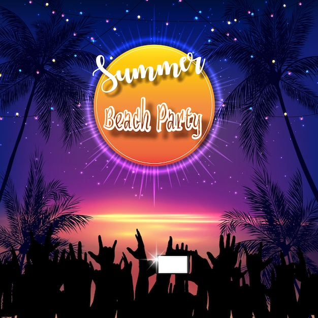 Summer beach party flyer design Premium Vector