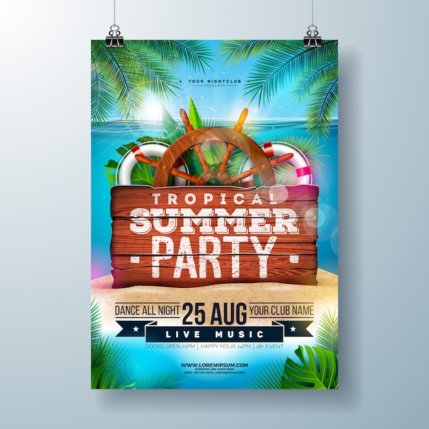 Summer beach party flyer with tropical palm leaves and shipping elements Premium Vector