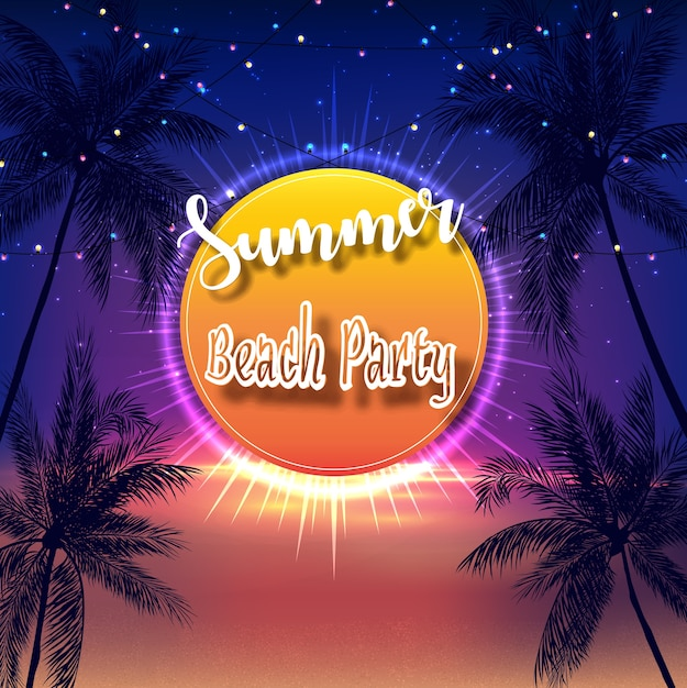 Summer beach party flyer Premium Vector