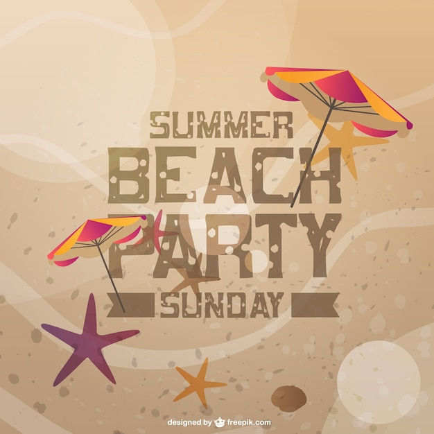 summer beach party invitation card vector | free download, Party invitations