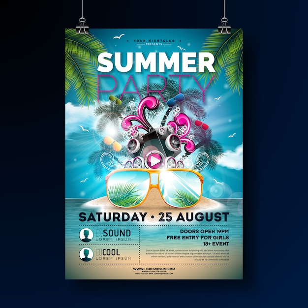 Summer beach party poster template design with flower and sun glasses. Premium Vector