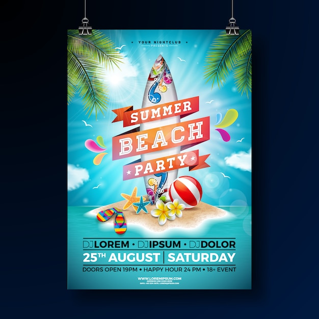 Summer beach party poster template design with flower and surf board. Premium Vector