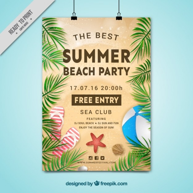 Summer beach party poster with palm leaves Free Vector