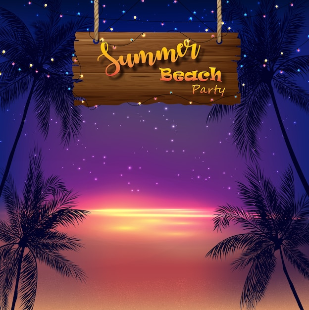Summer beach party poster with palm trees on beach at sunset Premium Vector