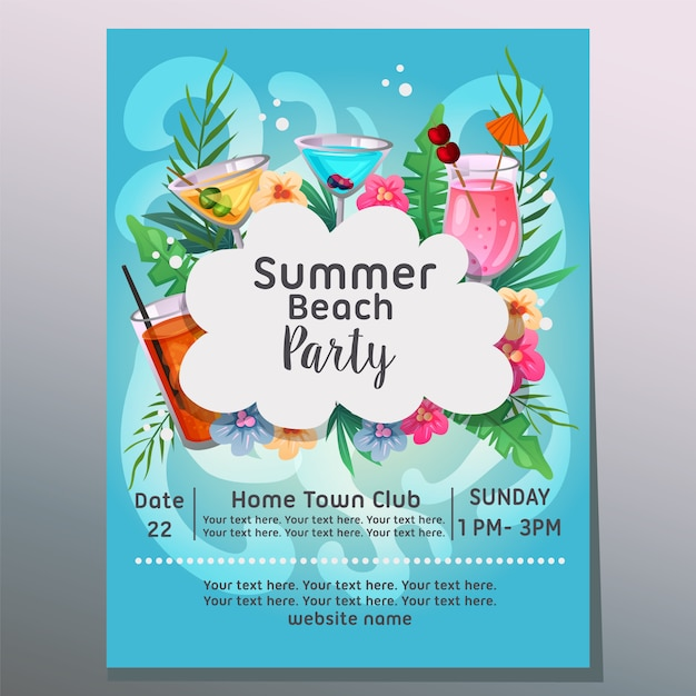 Summer beach party sea wave background tropical cocktail  illustration Premium Vector