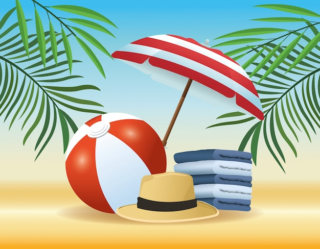 Summer and beach products cartoons Free Vector
