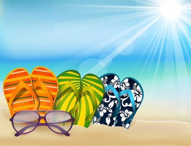 57d8c8a926ba2 Summer beach sandals colorful flip- flops with sunglasses Premium Vector