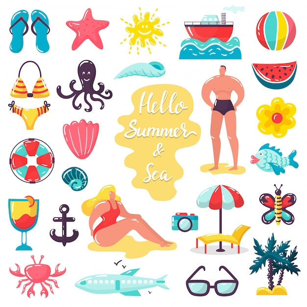 Summer beach sea holidays illustrations, people in summer vacation isolated icons set Premium Vector