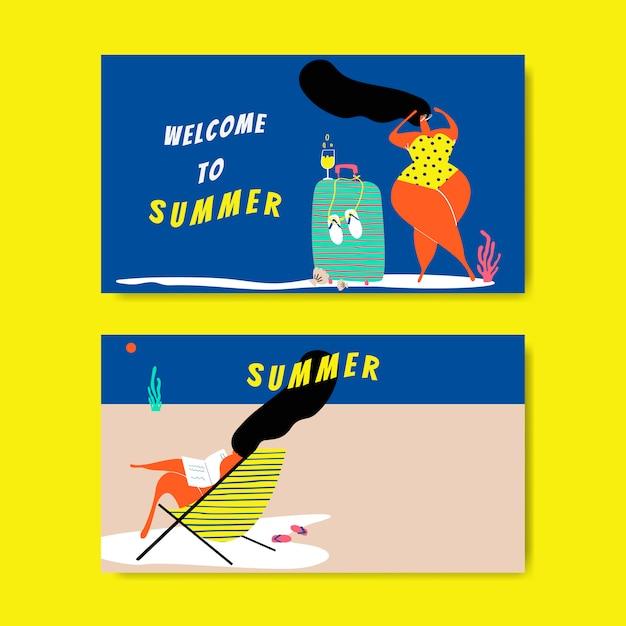 Summer on the beach set Free Vector