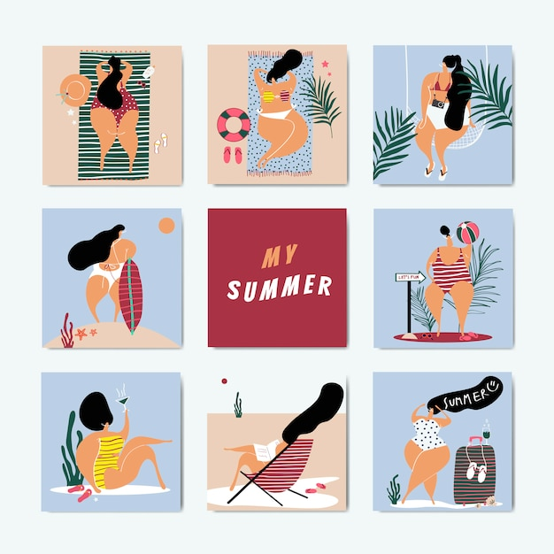 Summer on the beach set Free Vector