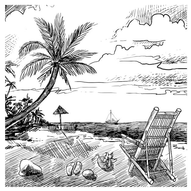 Summer beach sketch Free Vector