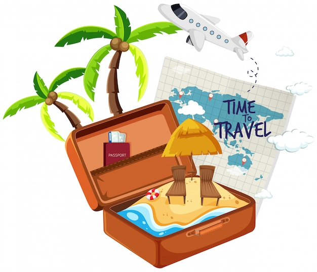 Summer beach in the suitcase Free Vector