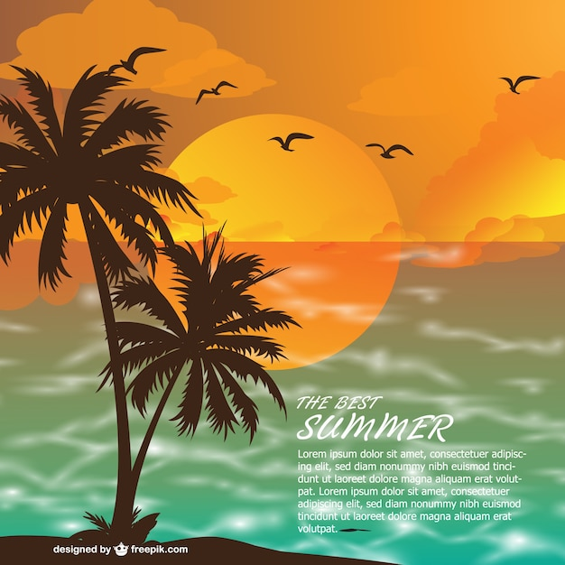 Summer beach at sunset background Free Vector