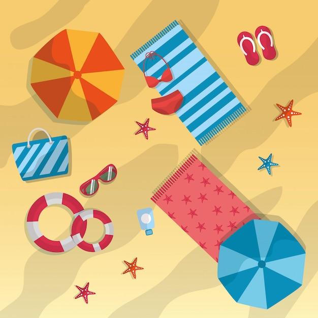Summer beach umbrella towels sunglasses starfish bag lifebuoy swimsuit Free Vector