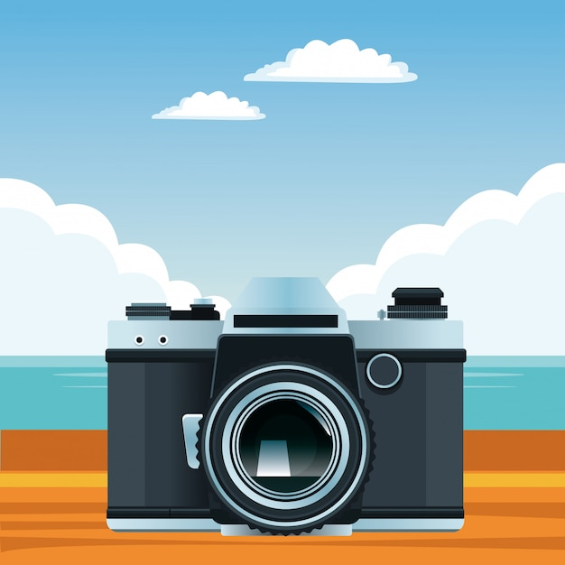 Summer beach and vacation cartoon Free Vector