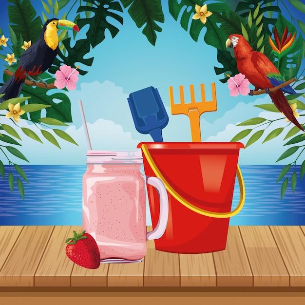 Summer beach and vacation cartoon Free Vector