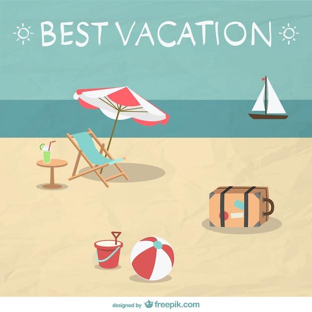 Summer beach vacation illustration Free Vector