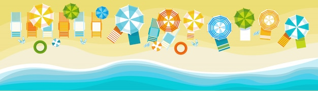 Summer beach vacation set sand tropical holiday banner Premium Vector