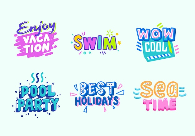 Summer beach vacation tropical banner design set. paradise pool party typography poster template. marketing advertising badge for best sea time event flat cartoon vector illustration Premium Vector