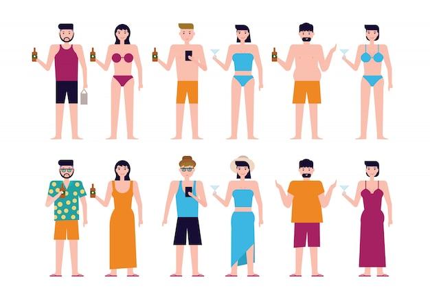 Summer beach white people Premium Vector