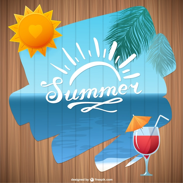 Summer beach with cocktail Free Vector