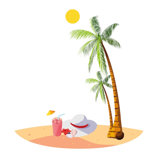 Summer beach with palms and female hat scene Premium Vector