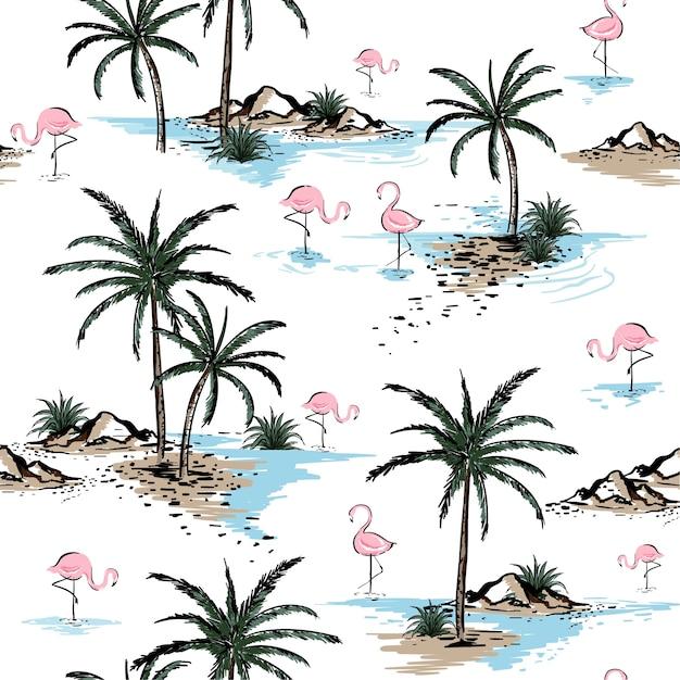 Лето красивые бесшовные модели острова Premium векторы