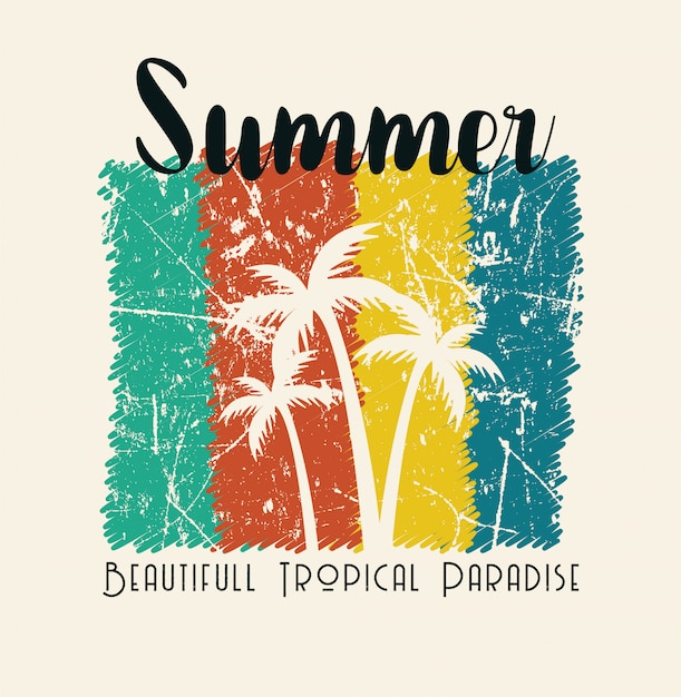 Summer beautiful tropical paradise illustration Premium Vector