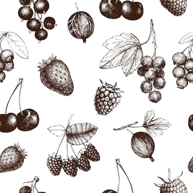 Летняя ягода бесшовные модели. ручной обращается ягоды фон. со свежими фруктами: клубника, клюква, смородина, вишня, черника, малина, черника. для рецепта, меню, баннера, чая или дизайна джема. Premium векторы