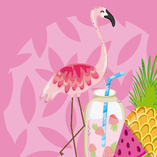 Summer and birds Premium Vector
