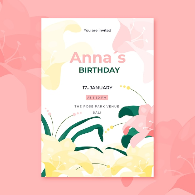 Summer blooming floral birthday card Free Vector