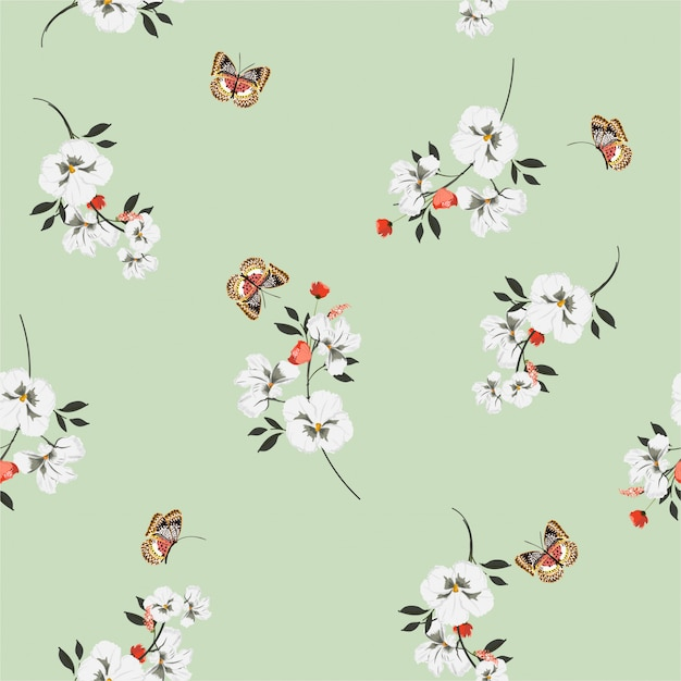 Summer bright meadow flowers  with butterflies soft and gentle seamless pattern on vector design for fashion, fabric, wallpaper and all prints Premium Vector