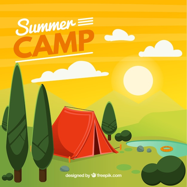 Summer camp background in 2d style Free Vector
