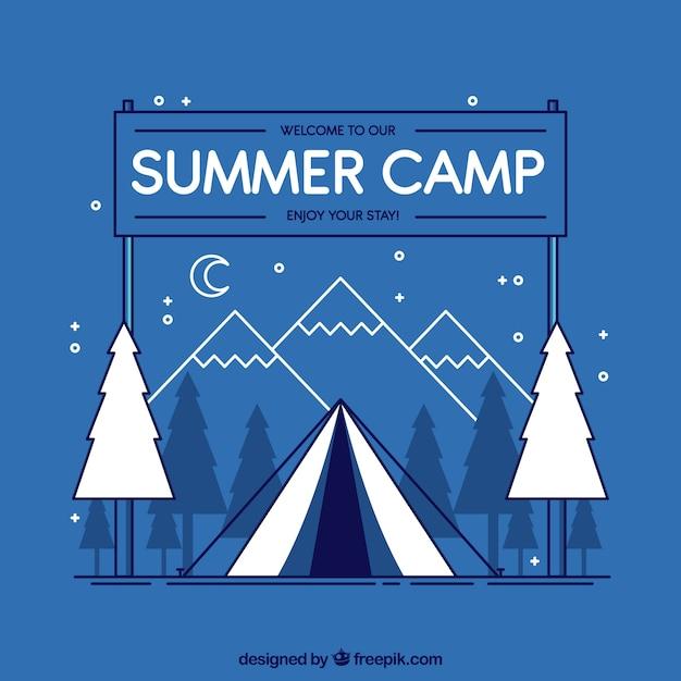 2dスタイルのサマーキャンプの背景 無料ベクター