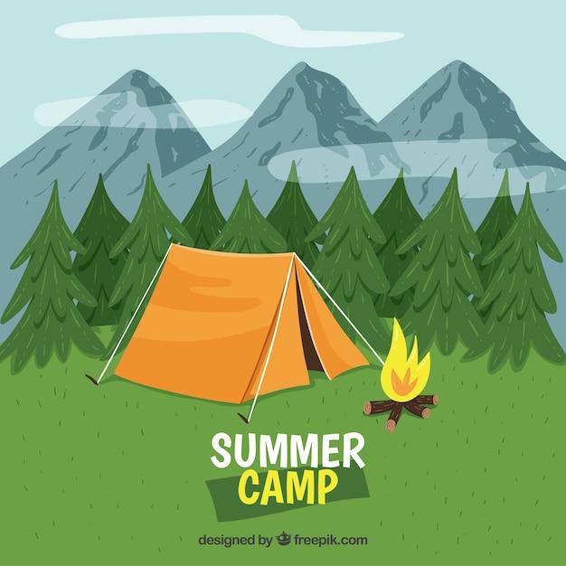 山の前のサマーキャンプの背景 無料ベクター