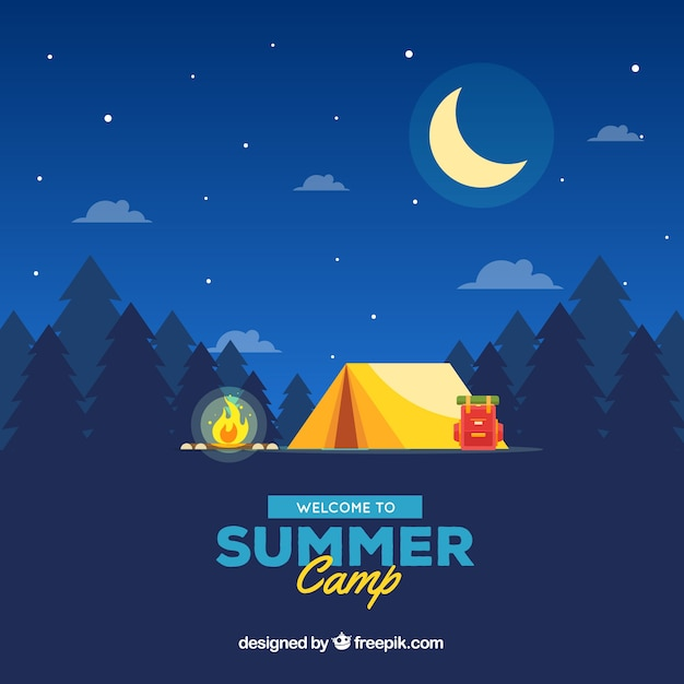 Summer camp background with beautiful landscape at night Free Vector