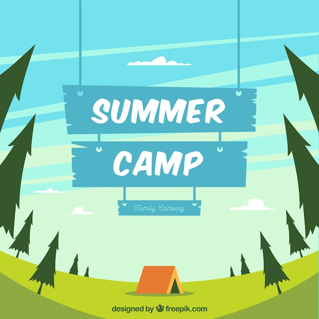 Summer camp background with blue wooden sign Free Vector