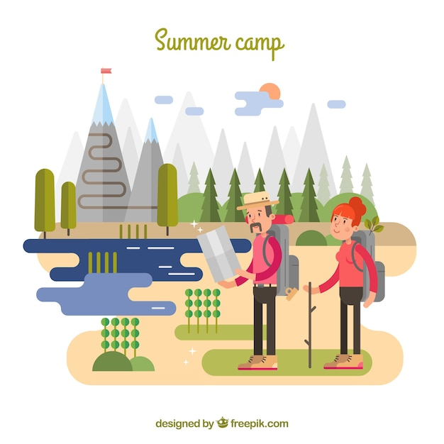 Summer camp background with couple traveling Free Vector