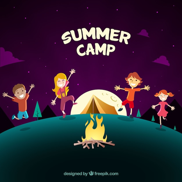 Summer camp background with kids dancing around\ a campfire