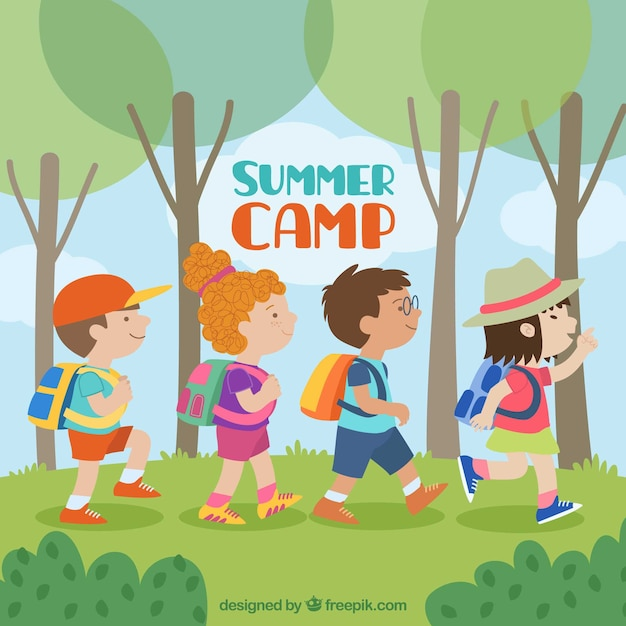 Summer camp background with kids walking Free Vector