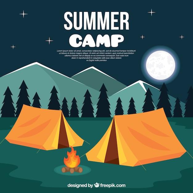 夜の風景とサマーキャンプの背景 Premiumベクター