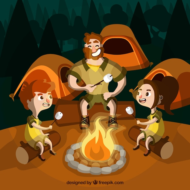 Summer camp background with people around a\ campfire
