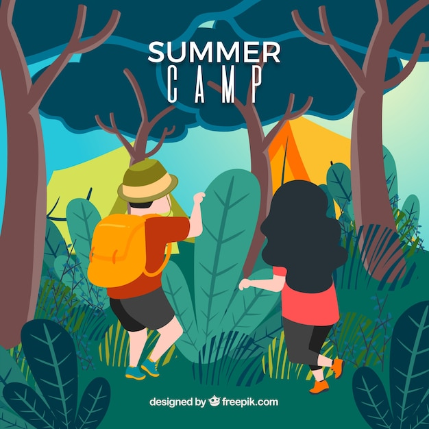 Summer camp background with people in\ nature